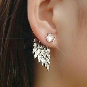 Jewelry - GORGEOUS ANGEL WING EARRINGS NEW SILVER